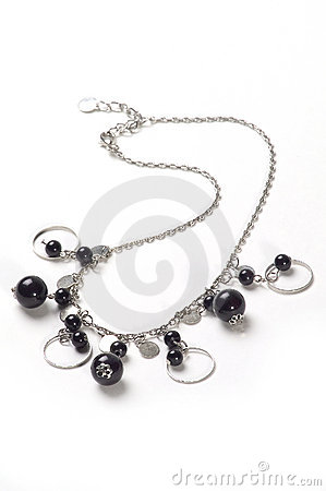 Free Silver Necklace With Black Balls Royalty Free Stock Image - 48556