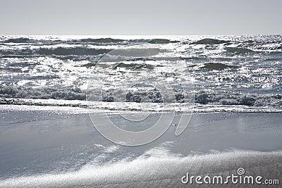 Silver ocean waves
