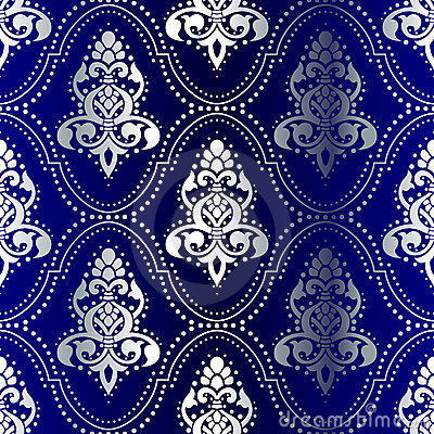 Free Silver-on-Blue Seamless Indian Pattern With Dots Stock Photos - 7812073