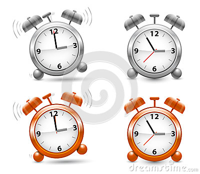 Silver and orange alarm clocks in vector