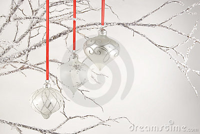 Silver Ornaments on Crystal Branches
