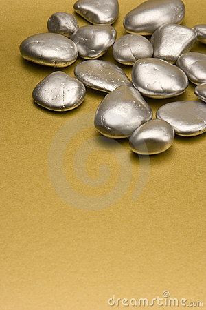Silver painted stones