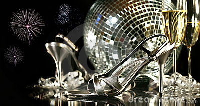 Silver party shoes with champagne glasses