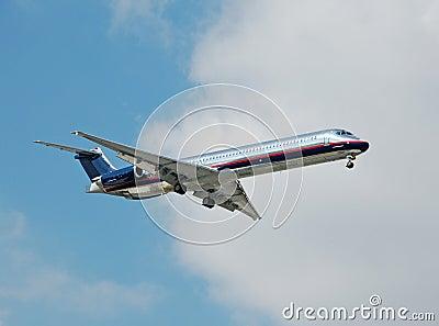Silver passenger jet airplane