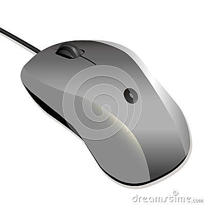 Silver PC mouse over white backgorund