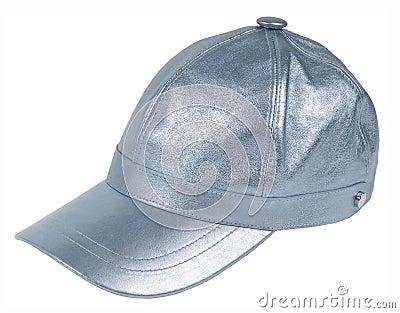 Silver peaked cap