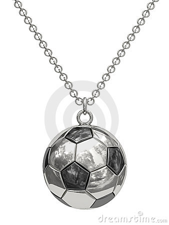 Silver pendant in shape of soccer ball on chain