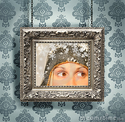 Free Silver Picture Frame Against Floral Wallpaper Stock Images - 6803964