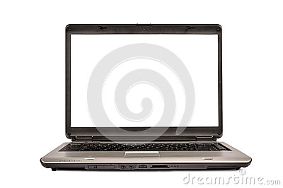 Silver Portable Laptop Computer Isolated XXXL