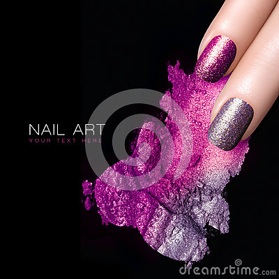 Free Silver Purple Nail Polish And Mineral Colorful Eye Shadow Royalty Free Stock Photo - 47987035