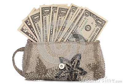 Silver purse with american dollars