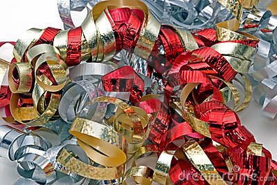 Silver, red and gold ribbon