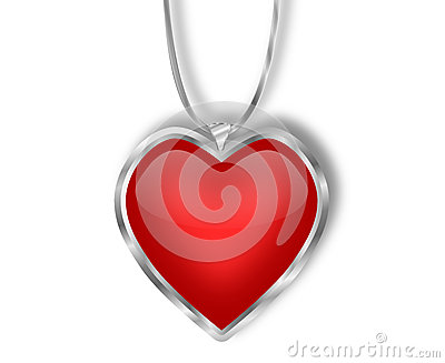 Silver and Red Heart Pendant