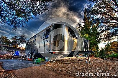 Silver retro airstream camper