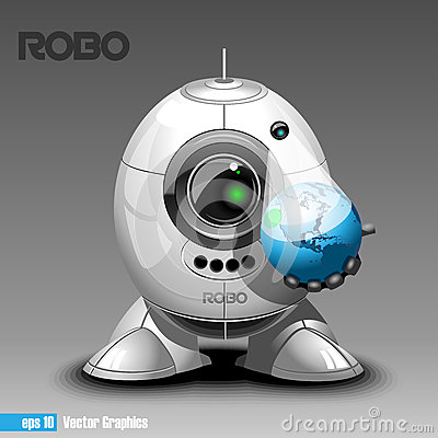Free Silver Robo Eyeborg Projecting The Planet Earth In 3d Stock Photos - 72600563
