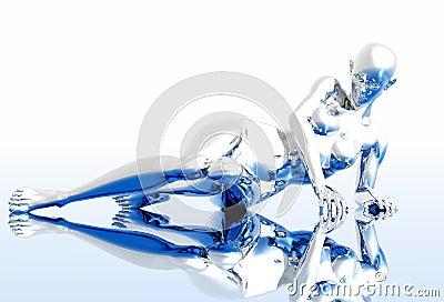 Silver robot girl
