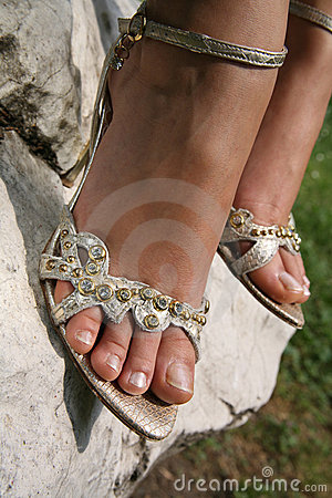 Free Silver Sandals Stock Photography - 5472132