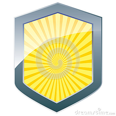 Silver shield with sunburst