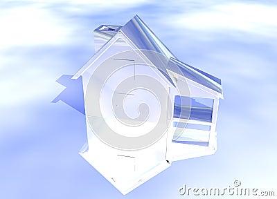 Silver Shiny House Model
