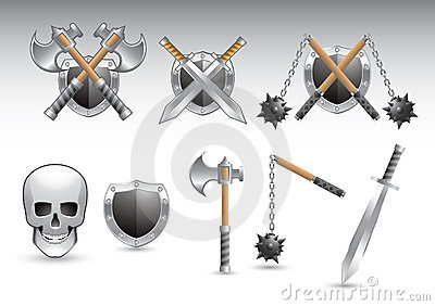 Silver shiny weapons and a skull