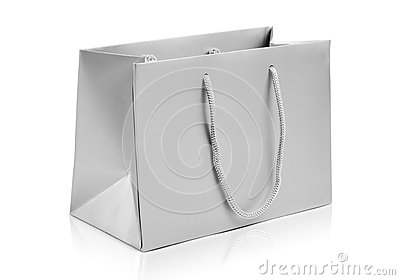 Silver shopping paper bag