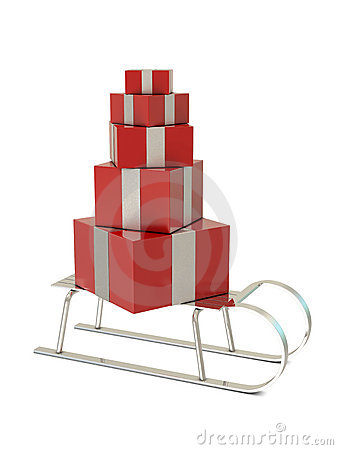 Silver sled and red gift boxes