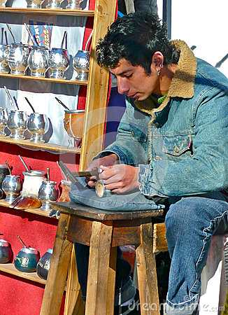 Free Silver Smith Making Cups For Mate Tea. Argentina Royalty Free Stock Photos - 71444358