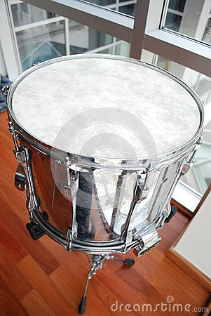 Silver Snare Drum Close Up
