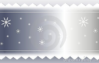Silver Snowflake and Sawtooth Ribbon Background