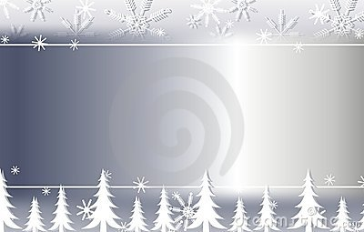 Silver Snowflake and Trees Background Border 2