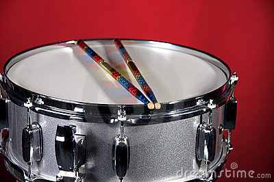 Silver Sparkle Snare Drum on Red
