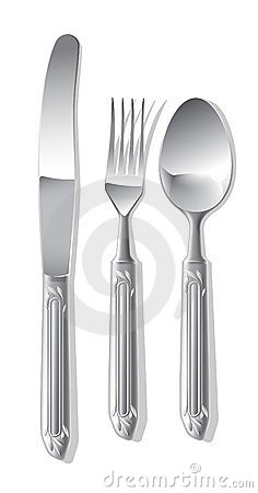 Silver spoon, fork and table knife