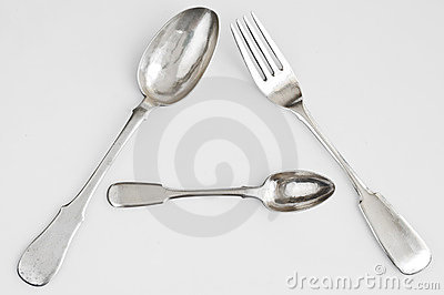 Silver spoons  and silver fork