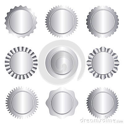 Silver stamp seal collection isolated on white