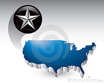 Silver star around united states icon