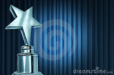 Silver Star Award On Blue Curtains