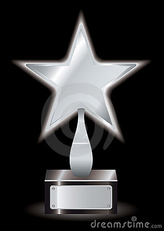 Silver star award trophy
