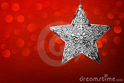 Silver Star Christmas Ornament Red Brushed Metal