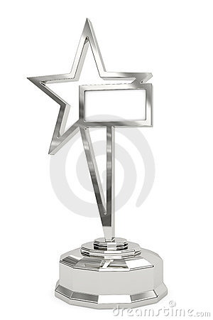 Silver star prize on pedestal