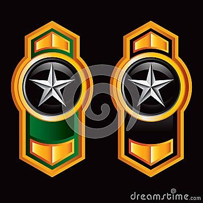 Silver star on vertical orange arrows
