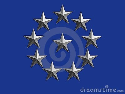 Silver Stars on Blue