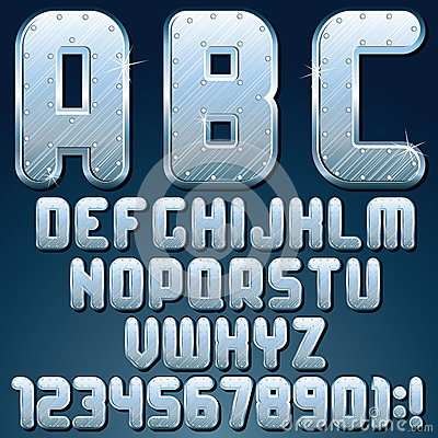 Silver Metallic Font. Vector Set of Shiny Letters