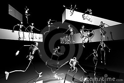 Silver stick men playing