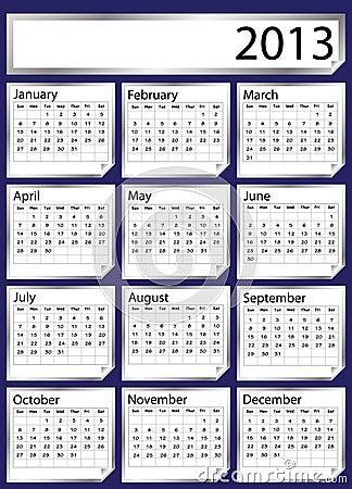 Silver sticker calendar 2013