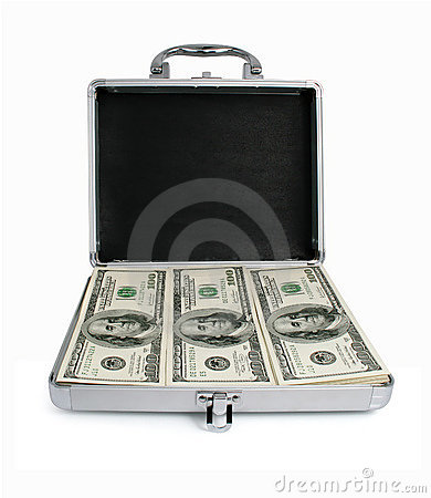 Free Silver Suitcase With Money Dollars Isolated Royalty Free Stock Photo - 7927725
