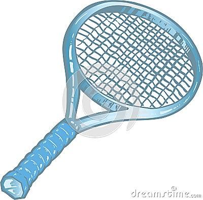 Silver tennis racket illustration