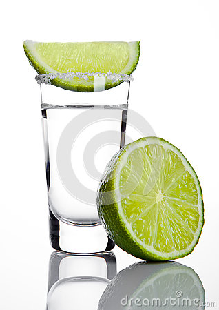 Free Silver Tequila Shot Glass With Lime Slice And Salt Royalty Free Stock Image - 78229826