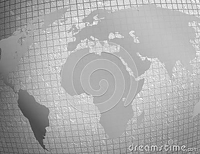 Silver textured world map