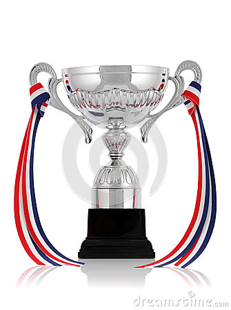 Silver trophy with ribbon
