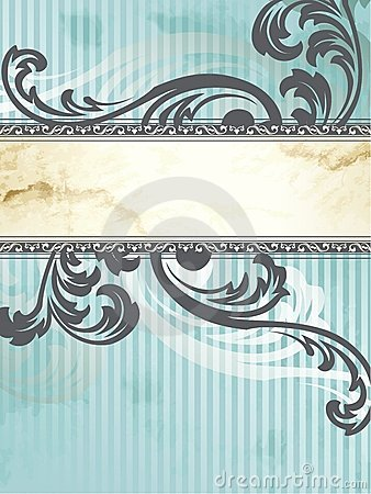 Silver Victorian vintage banner, vertical